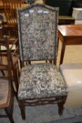 TAPESTRY UPHOLSTERED HALL CHAIR, HEIGHT APPROX 110CM