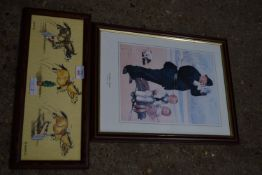 """FRAMED BARNACLE HORSE RIDING INTEREST CARTOON PRINT """"JUMPING"""", WIDTH APPROX 43CM TOGETHER WITH A"""