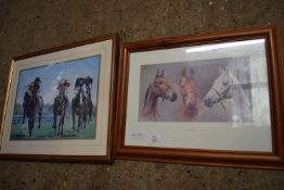 TWO VARIOUS FRAMED RACING INTEREST PRINTS, THE LARGER APPROX 54CM WIDE