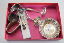 SMALL BOX CONTAINING SMALL SILVER DISH AND OTHER PLATED ITEMS