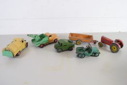 SMALL BOX CONTAINING VINTAGE DINKY TOYS IN PLAY WORN CONDITION