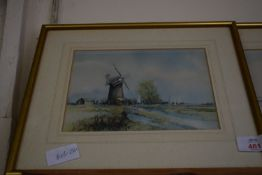 TWO FRAMED LANDSCAPE PRINTS OF WATERCOLOUR PAINTINGS, EACH FRAME WIDTH APPROX 31CM