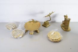 BOX CONTAINING BRASS WARES, MODEL OF AN AEROPLANE, A TORTOISE AND A CAT ETC