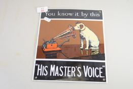 TIN ADVERTISING SIGN FOR HMV, POSSIBLY 1930S