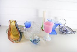 GLASS WARES, CARNIVAL GLASS DISH, MURANO TYPE MODEL OF A SWAN ETC