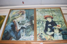 GILT FRAMED PAIR OF PRINTS OF IMPRESSIONIST PAINTINGS, EACH APPROX 46CM WIDE