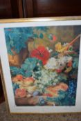 LARGE FRAMED PRINT OF A VAN HUYSUM PAINTING, APPROX 73CM WIDE