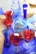 SET OF GLASS WARES INCLUDING RUBY COLOURED GLASSES