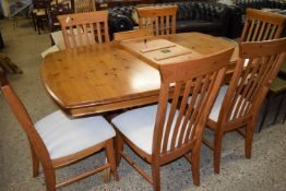 PINE EXTENDING DINING TABLE BY DUCAL, APPROX 166 X 103CM PLUS EXTRA LEAF, TOGETHER WITH SET OF SIX