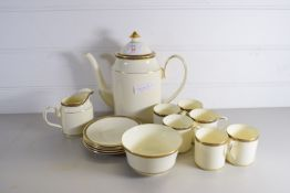 MINTON COFFEE SET COMPRISING COFFEE POT, MILK JUG, SUGAR BOWL AND SIX COFFEE CANS AND SAUCERS