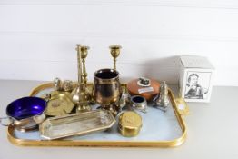 TRAY CONTAINING PAIR OF BRASS CANDLESTICKS, BRASS ASHTRAY WITH REGIMENTAL INSIGNIA ETC