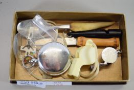 SMALL BOX CONTAINING WHISTLES ETC
