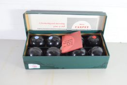BOX CONTAINING SET OF INDOOR CARPET BOWLS BY B & A