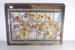 STAINED GLASS WINDOW IN WOODEN FRAME, PAINTED WITH FLORAL AND BIRD DESIGN
