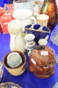 LARGE POTTERY BISCUIT BARREL, OTHER CERAMIC JUGS AND VASES