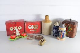 BOX CONTAINING MAINLY CHINA ITEMS, STONEWARE BOTTLE, TWO SMALL POTTERY FLAGONS ETC