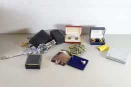 BOX CONTAINING VARIOUS COSTUME JEWELLERY, AND GENTS WRIST WATCH AND TACOMETER