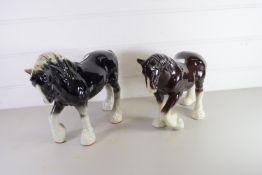 TWO POTTERY MODELS OF CART HORSES