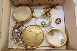 BOX CONTAINING COSTUME JEWELLERY INCLUDING SILVER PLATED BANGLE AND SOME LADIES WRIST WATCHES