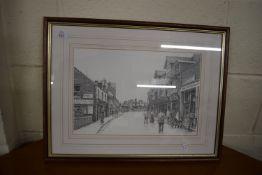 FRAMED PRINT OF SHERINGHAM HIGH STREET BY BENSLEY, APPROX 52 X 40CM