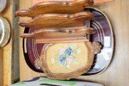 WOODEN LETTER RACK AND OVAL TRAY