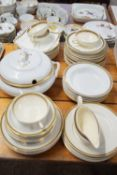 DINNER WARES, MAINLY WITH GOLD TRIM, VARIOUS MANUFACTURERS INCLUDING KEELING & CO