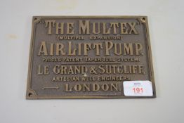 METAL PLAQUE FOR THE MULTEX AIR LIFT PUMP, LE GRANDE & SUTCLIFFE, WELL ENGINEERS, LONDON