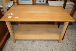 SMALL OAK EFFECT TV STAND, APPROX 89CM
