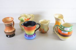 SIX ART DECO STYLE JUGS BY CROWN DEVON AND OTHERS
