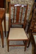 SMALL MAHOGANY BEDROOM CHAIR WITH INLAID DECORATION, WIDTH APPROX 38CM