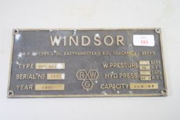 """METAL PLATE FROM B & E BOILERS MARKED """"WINDSOR"""""""