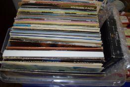 PLASTIC BOX CONTAINING LPS, MAINLY POP MUSIC, TANGERINE DREAM, JIMI HENDRIX, SIMON & GARFUNKEL ETC