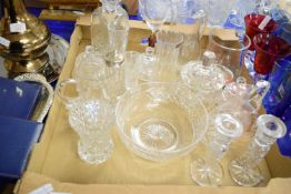GLASS WARES INCLUDING DECANTERS, WATER JUGS, PAIR OF CANDLESTICKS ETC