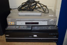 SONY VHS VIDEO PLAYER AND A TOSHIBA VIDEO/DVD RECORDER