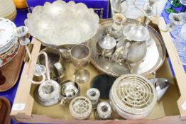 PLATED ITEMS, PAIR OF CANDELABRA, SERVING DISH ETC