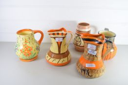 FIVE ART DECO JUGS BY MYOTT AND OTHERS