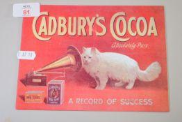 TIN ADVERTISING SIGN FOR CADBURY'S COCOA