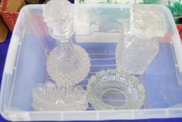 PLASTIC BOX CONTAINING TWO CUT GLASS DECANTERS