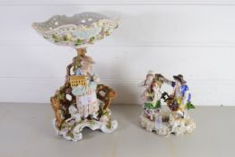 TWO CONTINENTAL PORCELAIN FIGURES, ONE WITH A FLOWER BASKET