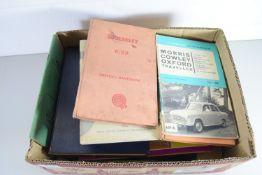 SMALL BOX CONTAINING MAINLY MOTORING EPHEMERA, DRIVERS HANDBOOK FOR A WOLSEY, MORRIS COWLEY,