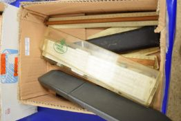 BOX CONTAINING VARIOUS MEASURING INSTRUMENTS, SLIDE RULES ETC