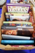 BOX OF BOOKS, MAINLY COOKERY AND TRAVEL