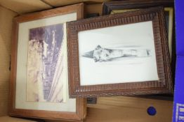 BOX CONTAINING VARIOUS PRINTS AND FRAMES