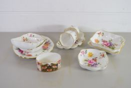 SMALL BOX OF ROYAL CROWN DERBY CHINA WARES IN THE DERBY POSIES PATTERN