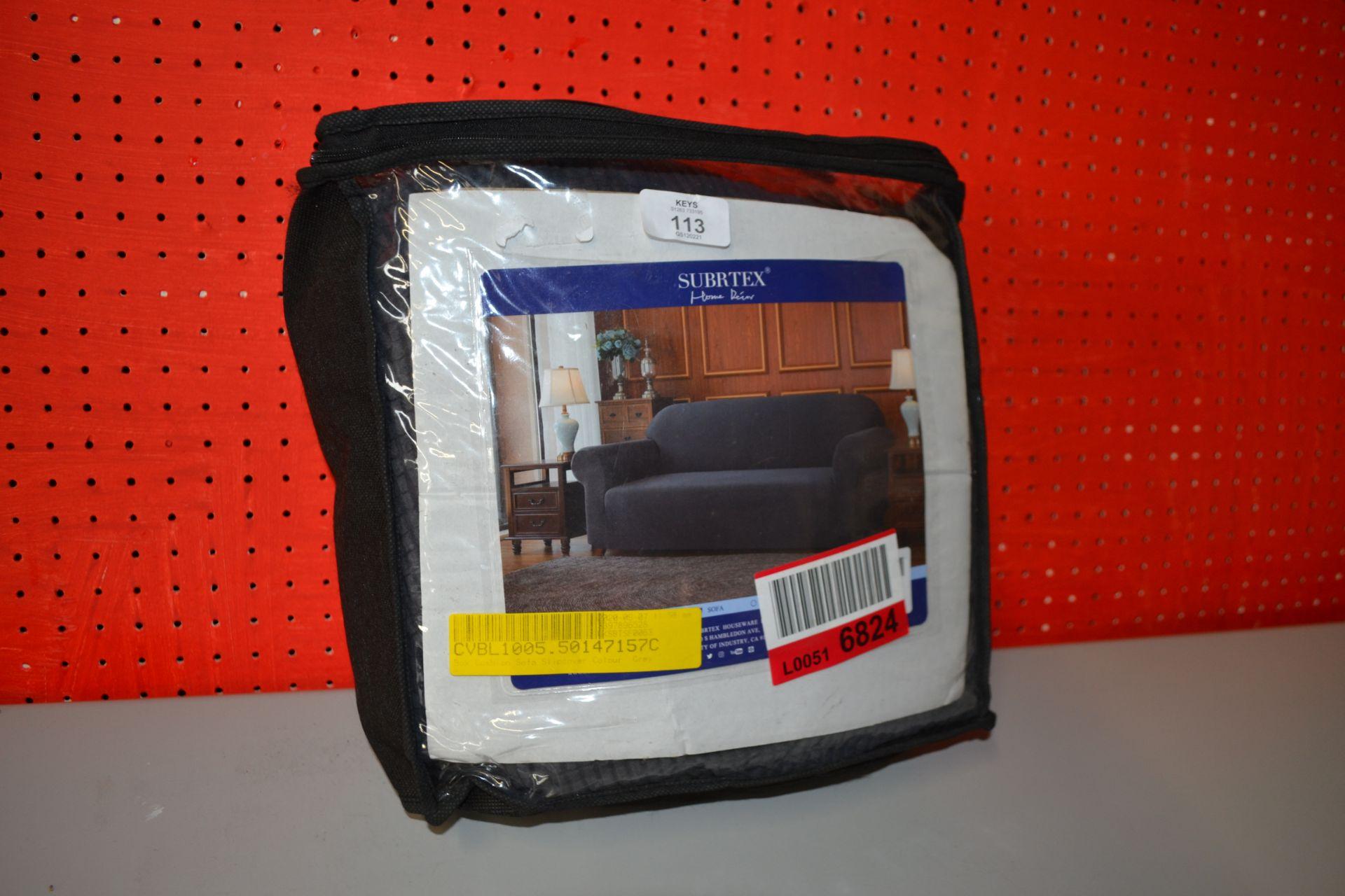 SUBRTEX BOX CUSHION SOFA SLIP COVER IN GREY