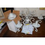 CHANDELIER STYLE WHITE PAINTED METAL CEILING LIGHT FITTING WITH SHADES