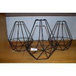 THREE WIRE FRAMED LAMP SHADES