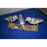 WOODEN MODEL OF SEAGULLS ON A BRANCH