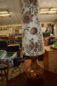 ART POTTERY LAMP BASE, COMPLETE WITH SHADE, TOTAL HEIGHT INC SHADE APPROX 127CM