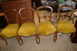 SET OF FOUR UPHOLSTERED BALLOON BACK DINING CHAIRS, EACH HEIGHT APPROX 85CM